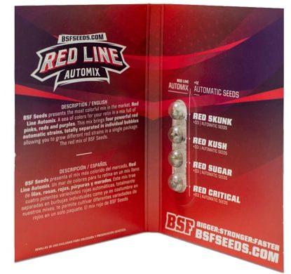 Titelbild von Red Line Automix Produktbeschreibung mit autoflowering Cannabis Samen und BSF Informationen